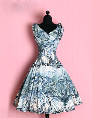 1950 | Full Skirt Day Dress with Illustrated Watercolor Print of Dancers and Flowers by Lilli Ann