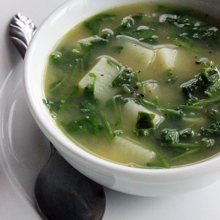 Detox with a quick watercress soup. 1 tablespoon olive oil 3 garlic cloves, thinly sliced 1 large white potato, peeled and cut into 1/2-inch dice (2 cups) 1 teaspoon coarse salt 3 cups low-sodium chicken-less stock 2 bunches watercress, thick stems trimmed, coarsely chopped Pepper, freshly ground Lemon wedges, for serving