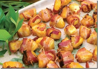 Bacon wrapped pineapple.