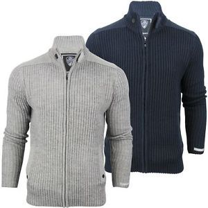 Mens-Dissident-District-Wool-Mix-Ribbed-Funnel-Neck-Cardigan-Jumper