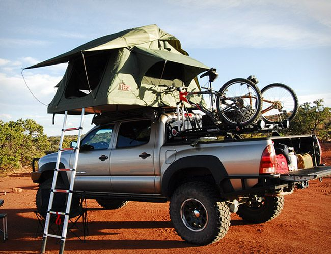 Tepui's line of aluminum frame tents comes complete with an aluminum insulated base, high-density foam mattress, waterproof and ventilated walls and an 8 ft telescoping aluminum ladder for gaining access to your perch. The tents easily mount directly to your roof rack or aftermarket roof bars, store easily when not in use and set up in a snap. Ranging in space from a 4-person model (the Gran Sabana) all the way down to a 2-man version (the Ayer).