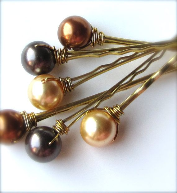 Autumn Pearl Hair Pins Mix 3, Brown Copper and Gold