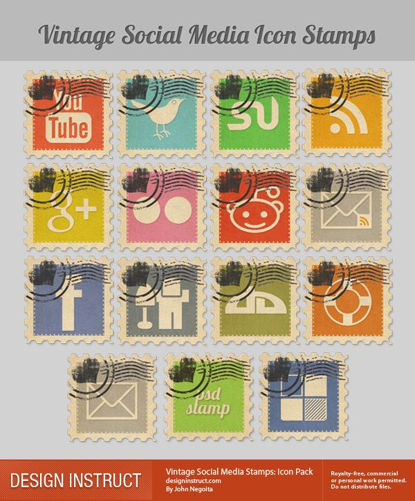 Vintage Social Media Icon Stamps