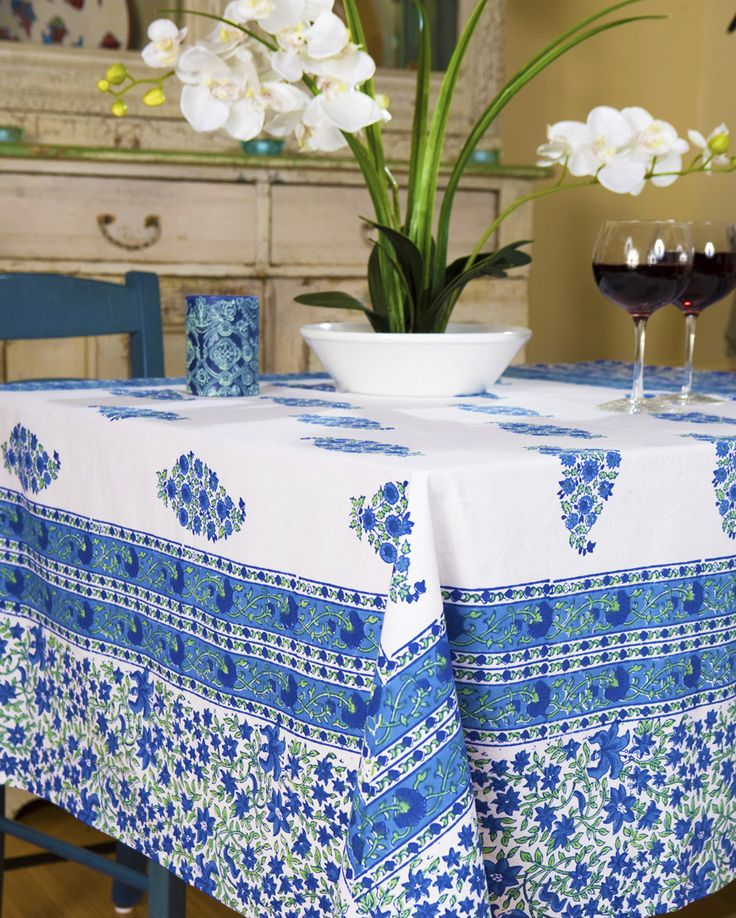 Blue Table Linens   Hand Block Printed From Attiser