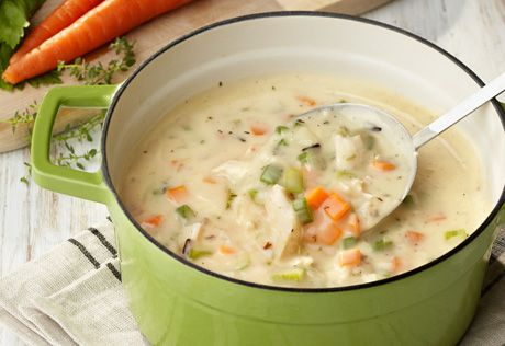 Cooked chicken, sautéed fresh veggies and wild rice combine with a cream starter resulting in a savory soup that's so good you won't believe how fast it disappears! It's hearty, delicious and sure to become a family favorite.