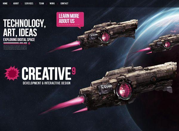 Dark website example: Creative9
