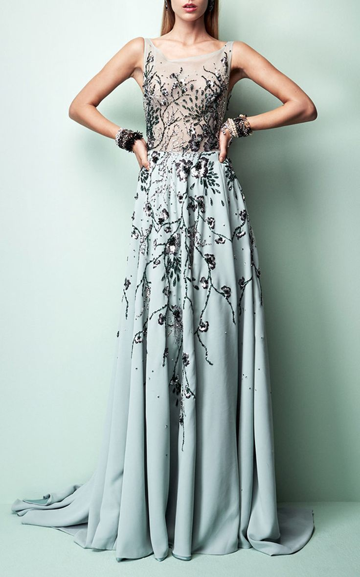 2017 Embellished Floor Length Gown by Georges Hobeika | Moda Operandi…