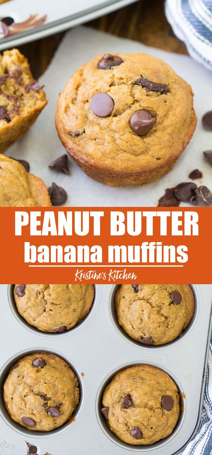 These Peanut Butter Banana Muffins with chocolate …