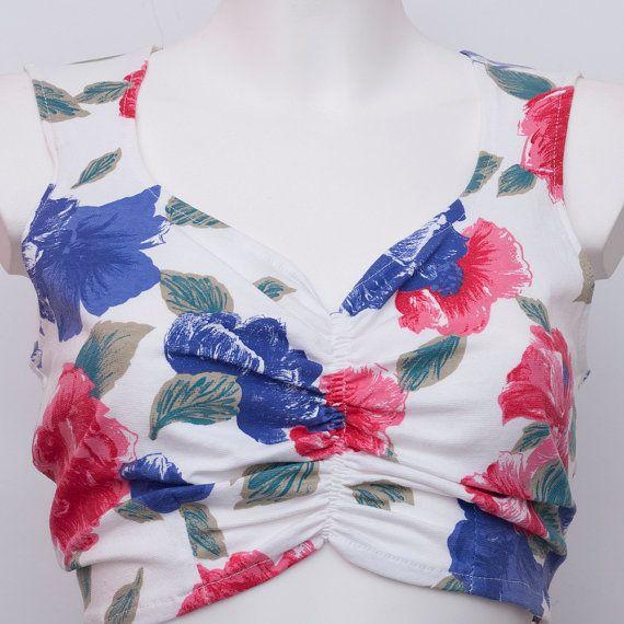 Vintage NOS Floral talla M de camisa superior de los cultivos