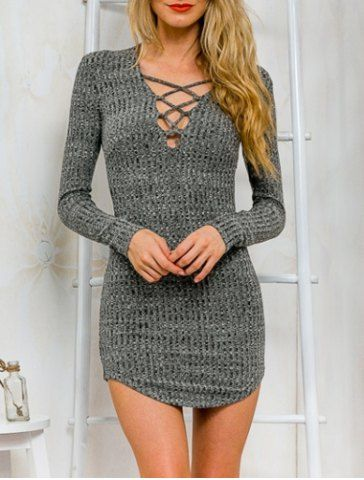 Stylish Plunging Neck Criss-Cross Long Sleeve Sweater Dress For Women