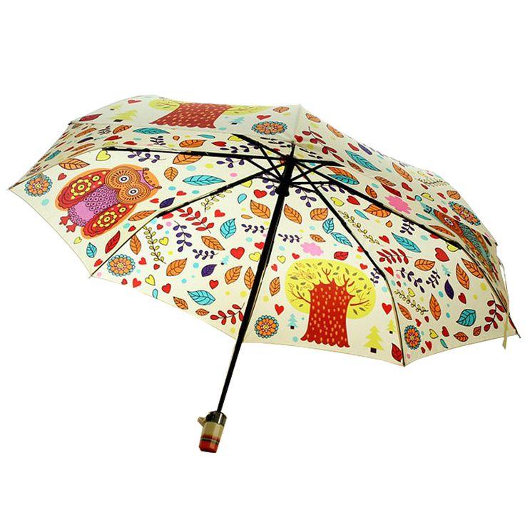 Милые животные Зонт/три складные зонты жираф и сова Креативный дизайн подарок автоматический выключатель купить на AliExpress