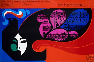 Original Vintage Poster Mod Barcelona Music Festival Colorful Face Abstract Red on eBay!