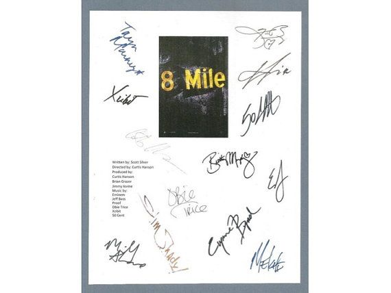 Hey, I found this really awesome Etsy listing at https://www.etsy.com/listing/216209751/8-mile-eight-script-signed-screenplay