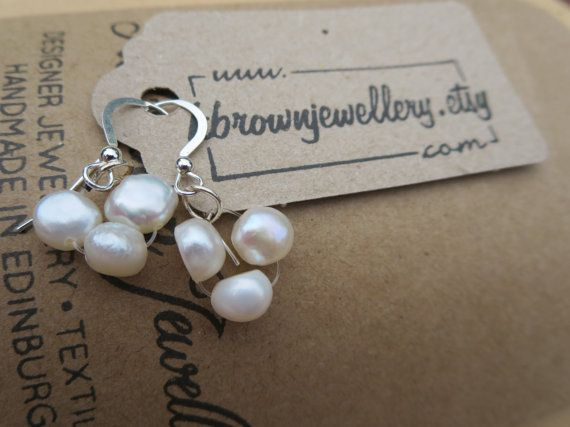 www.kbrownjewellery.co.uk Check out this item in my Etsy shop https://www.etsy.com/uk/listing/154972748/pearl-earrings-white-pearl-dangly