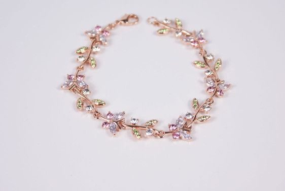 Pastel Butterfly and Leaf Bracelet - Golden Eight