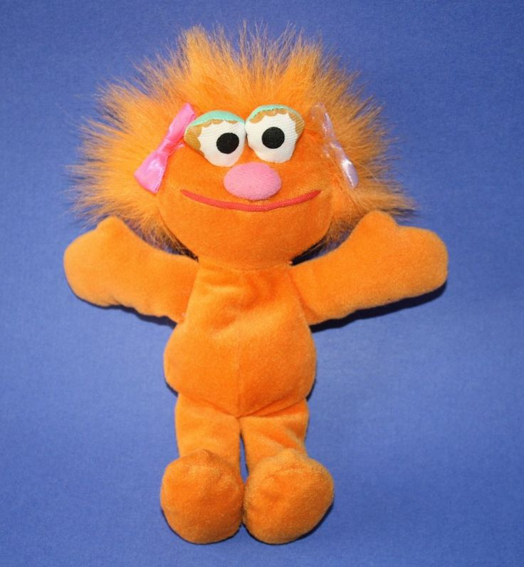 Sesame Street Tyco Plush Zoe Orange Muppet Girl Doll Bean