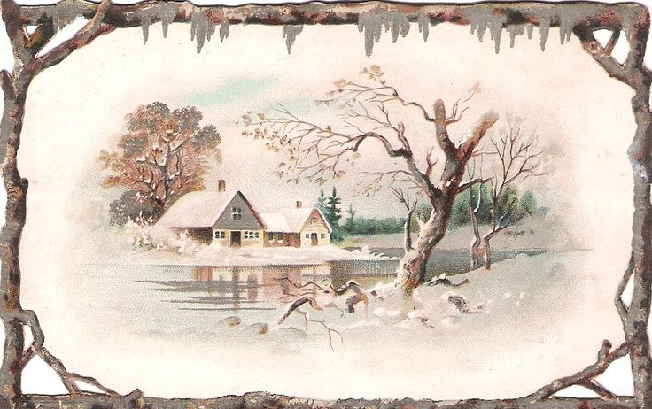 Oblaten Glanzbild scrap die cut chromo Winter Land Schnee snow See house silver: