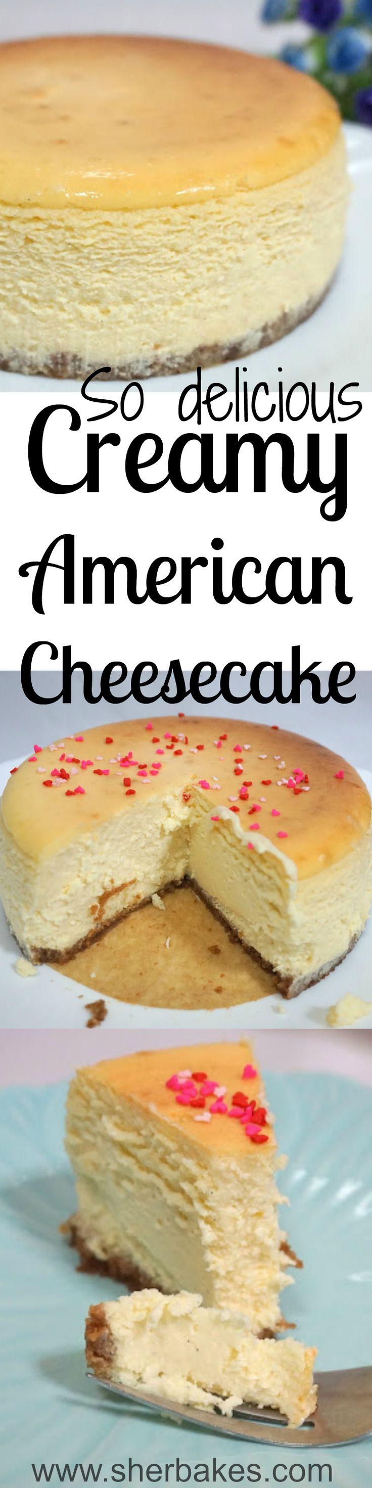 Cremosa tarta de queso americana es muy delicioco en el Estados Unidos. Como alguna tarta este es muy sabroso y cremoso. Este tarta de queso tiene corazón en forma de chispitas.