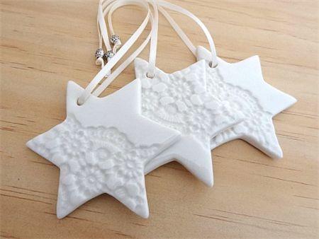 Christmas decorations, ornaments. Ceramic stars. Teachers gift.