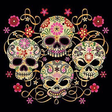 Gothic Sugar Skulls Skull Reaper psychedelic hippie  Art Poster Print Postcard ☮~ღ~*~*✿⊱  レ o √ 乇 !! ~