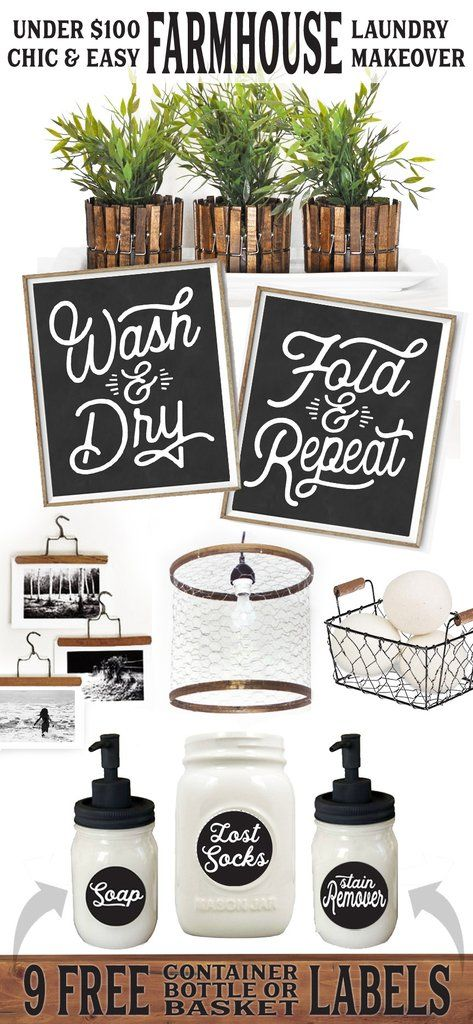 Get the modern farmhouse look on a budget! 9 FREE labelsincluded below can be used on containers, jars, baskets or...
