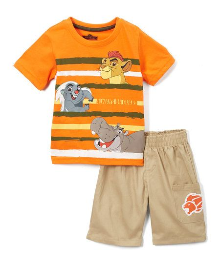 Childrens Apparel Network Lion Guard Orange Tee & Khaki Shorts - Toddler | zulily