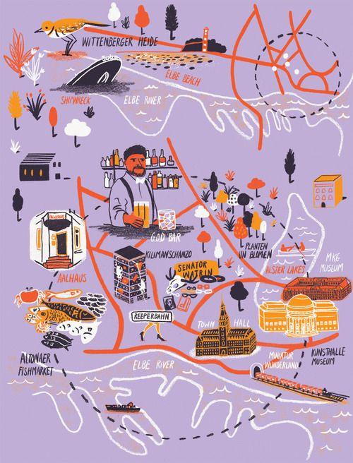 Daniel Gray - Map of Hamburg for Computer Arts Magazine