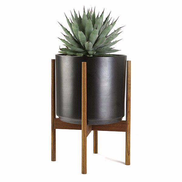 CASE STUDY CYLINDER PLANTER WITH WOOD STAND 10'' BLACK