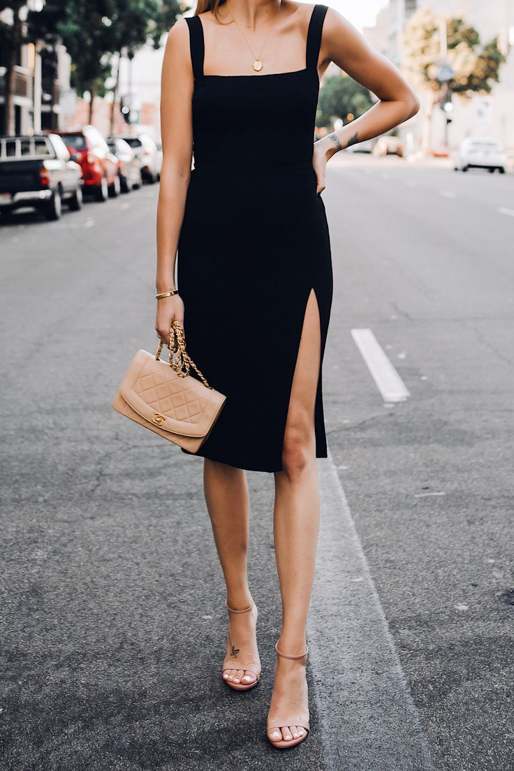 Woman Wearing Reformation Black Dress Tan Ankle Strap Sandals Chanel Tao