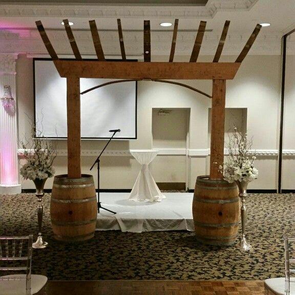 Retired wine barrel arbor