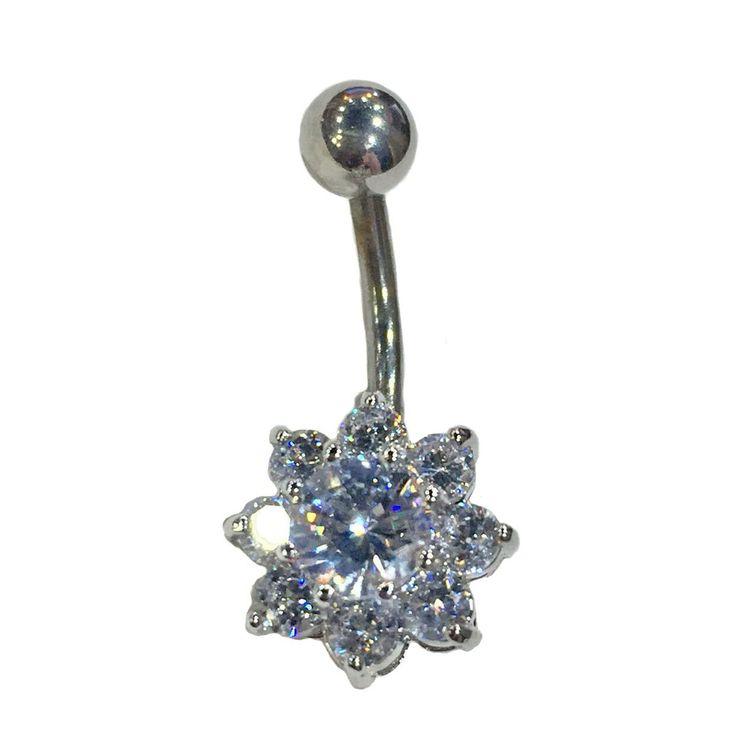 """Navel piercing ring with gem """"Flover"""" Серьга для пирсинга пупка с фианитами в виде цветка"""