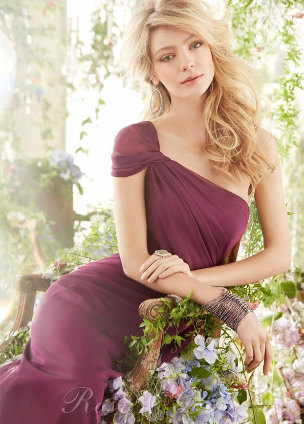 Merlot Chiffon Draped One-shoulder Cap Sleeve Long Bridesmaid Dress RosyGown.com