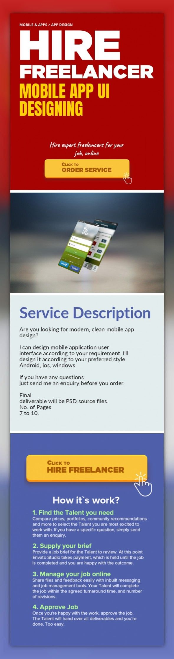 Mobile App UI Designing Mobile & Apps, App Design   Are you looking for modern, clean mobile app design?     I can design mobile application user interface according to your requirement. I'll design it according to your preferred style Android, ios, windows    If you have any questions just send me an enquiry before you order.    Final deliverable will be PSD source files.  No. of Pages 7 to 10.  ...