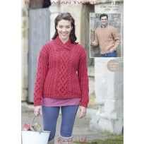 Unisex Wrap-Neck and Round-Neck Sweaters in Hayfield Bonus Aran Tweed (7139)