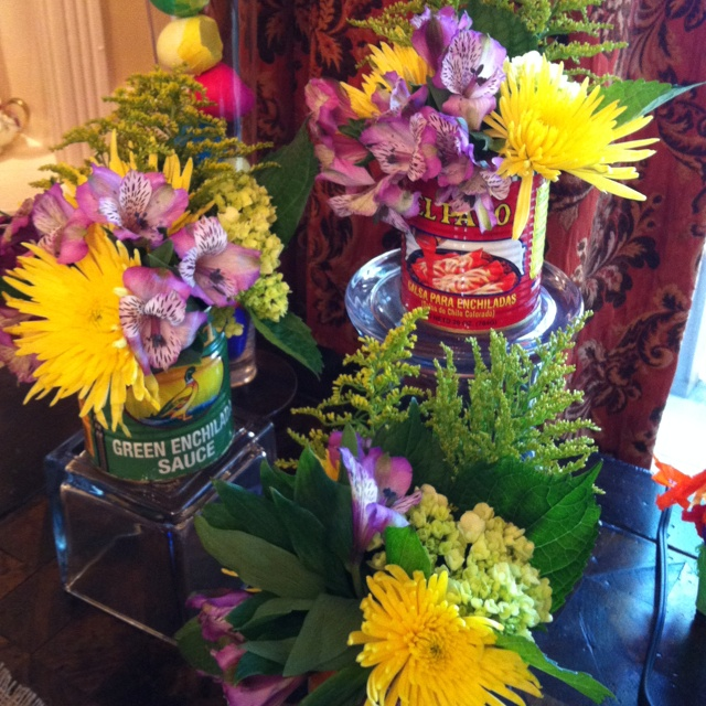 mexican fiesta party decor empty out tex mex canned foods and arrange bright flowers - Mexican Fiesta Decorations