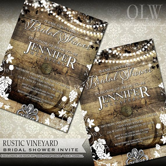 Rustic Bridal Shower Invitation  Winery Themed by OddLotEmporium #wedding #rusticwedding #rusticbridalshower