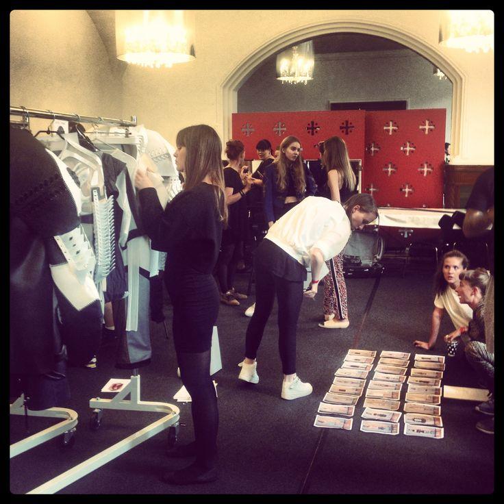 Backstage at Copenhagen Fashion Week preparing for the Anne Sofie Madsen SS14 show!