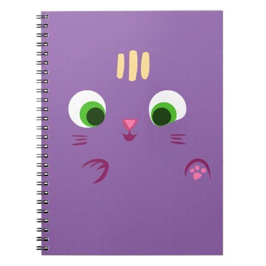 Cuaderno lindo del saludo de la cara del gato