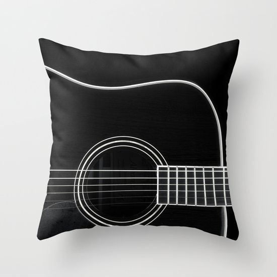 Guitar BW Throw Pillow by Katherine Accettura