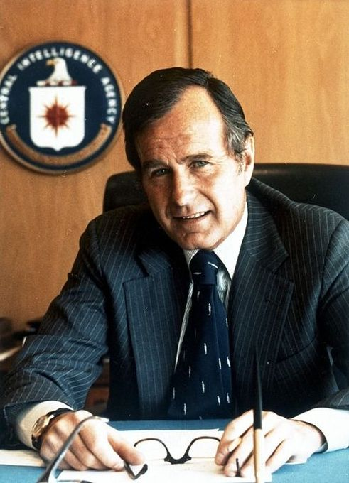 President and former DCI George Herbert Walker Bush born in Milton, Massachusetts, 1924. He is the only man to serve as both head of the CIA and president of the United States.