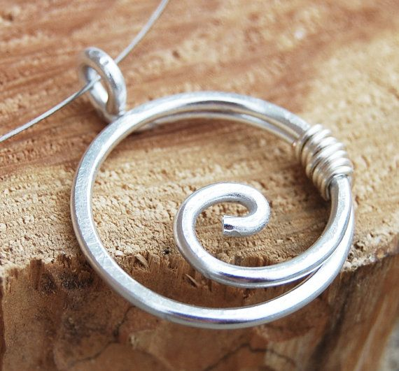 Spiral Necklace, Circle, Minimalist, Silver  Aluminum,  Wire Jewelry.