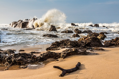 Little Rock meets wave #photo from Sawarna Beach, Indonesia.