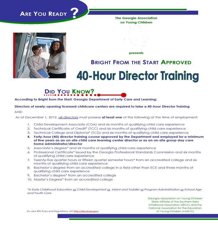 40Hour Director Training 40 hours, Childcare center
