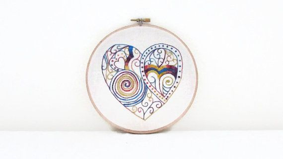 Doodle Heart hand embroidery   yellow blue and by KimsHandmadeCave