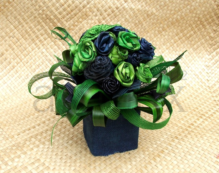 Artiflax - corporate / wedding centrepiece, blue and green flax flowers