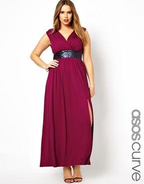 Image 1 - ASOS CURVE - Maxi robe style grec avec bande ornée de sequins