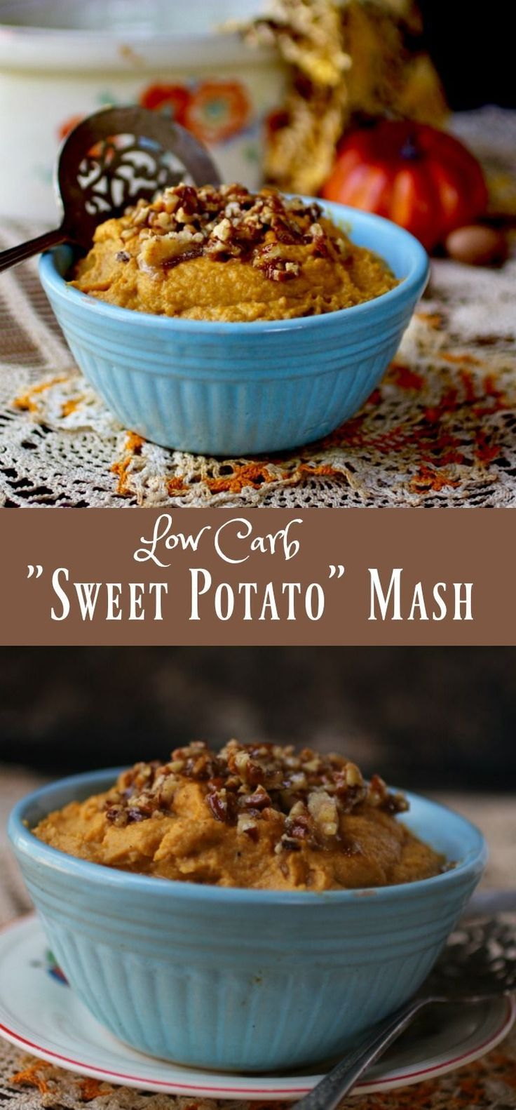 Creamy and buttery, this low carb sweet potato mash with pecan topping has just 5.3 net carbs per serving.The candied pecan topping makes this easy recipe the perfect side dish. From Lowcarb-ology.com