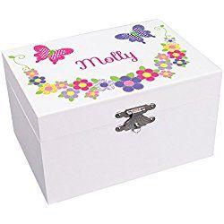 Personalized Butterfly Garland Ballerina Jewelry Box