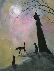 Halloween witch and her familiars