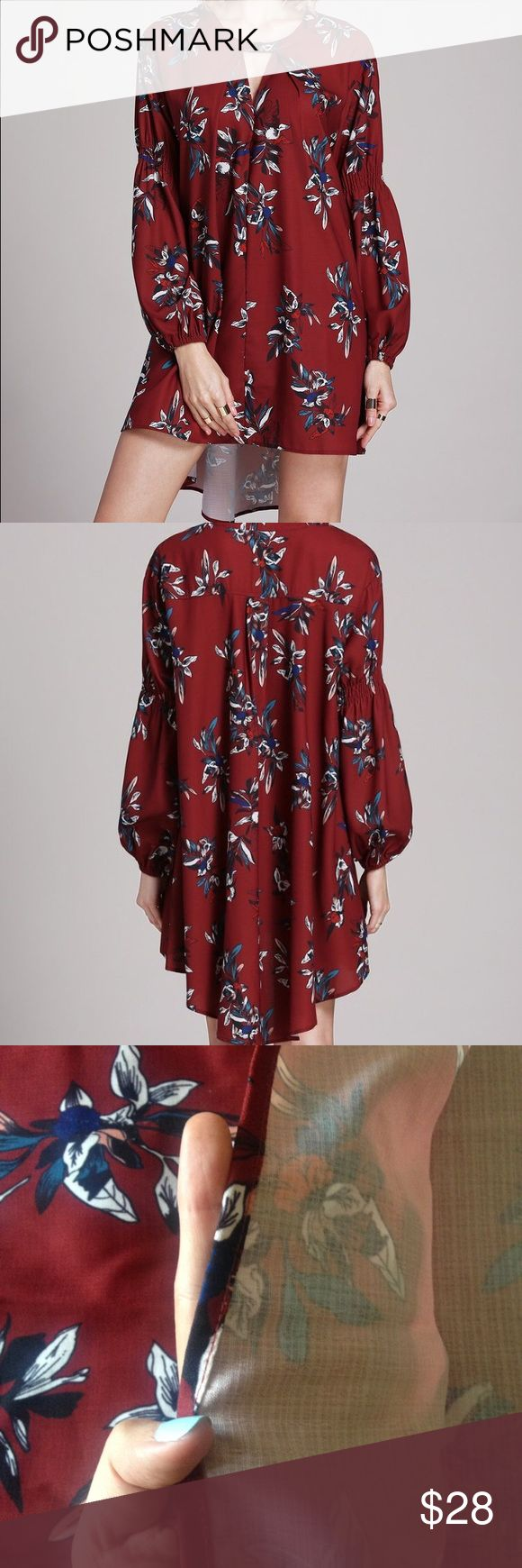 NWOT Deep Red Floral Dress with Sleeves New without tags, flowly deep red / maroon floral dress with sleeves. Features a longer hem in the back and ruched sleeves. Fun key hole cut out in front as well! Never been worn. No Brand. Dresses High Low